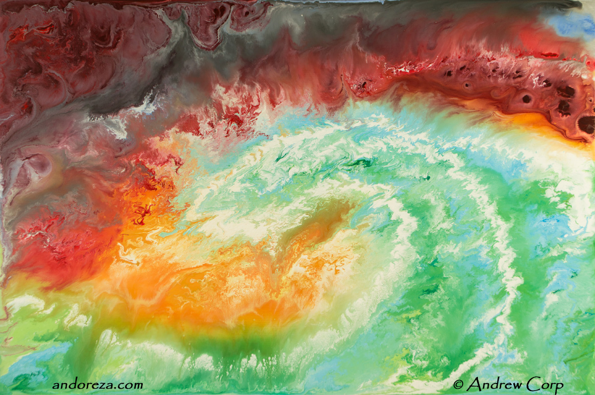The red storm over windy green seas